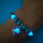 Bracelet perles naturelles luminescentes bleu turquoises boutique zen style