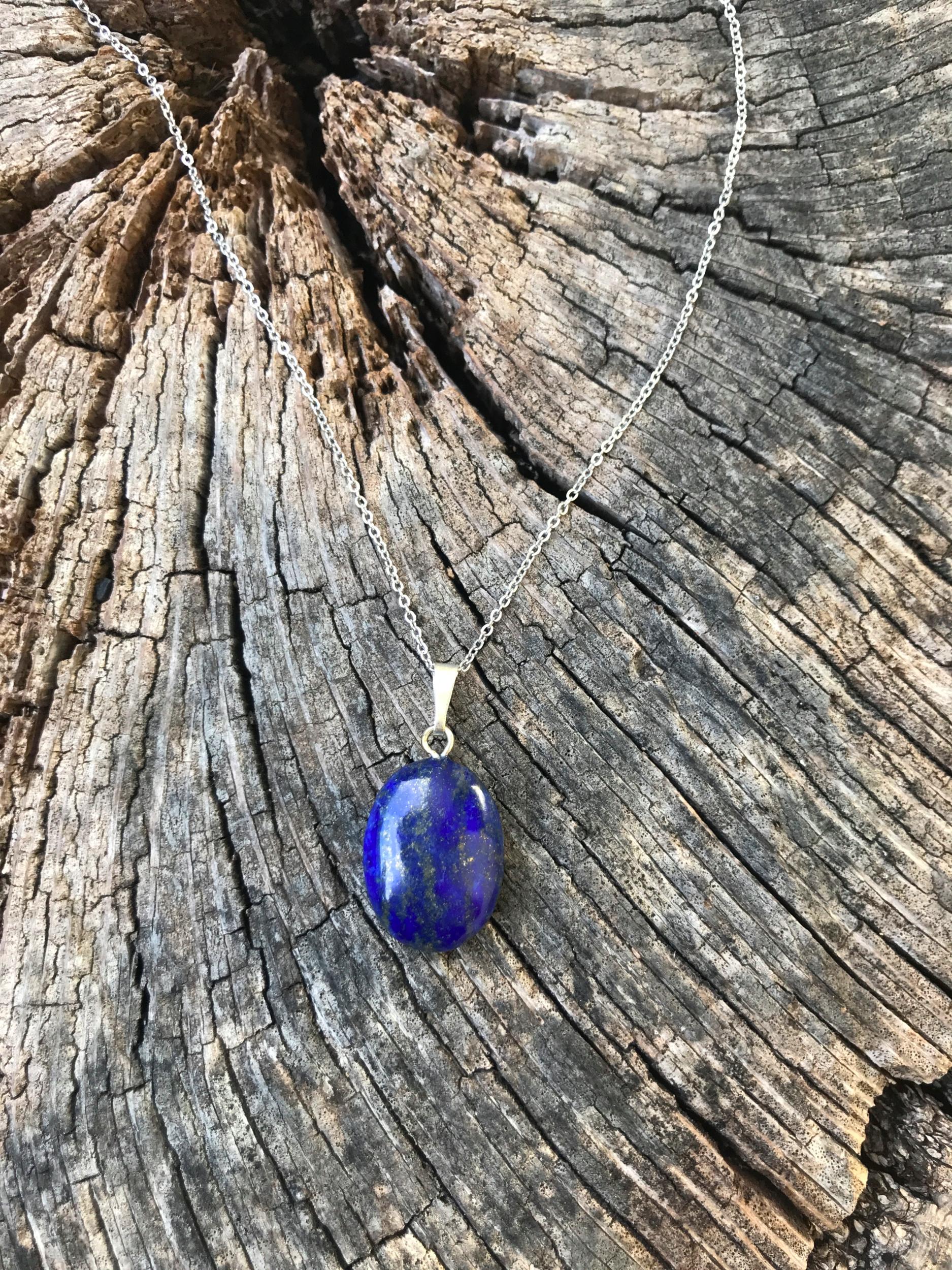Collier lapis lazuli acier chirurgical