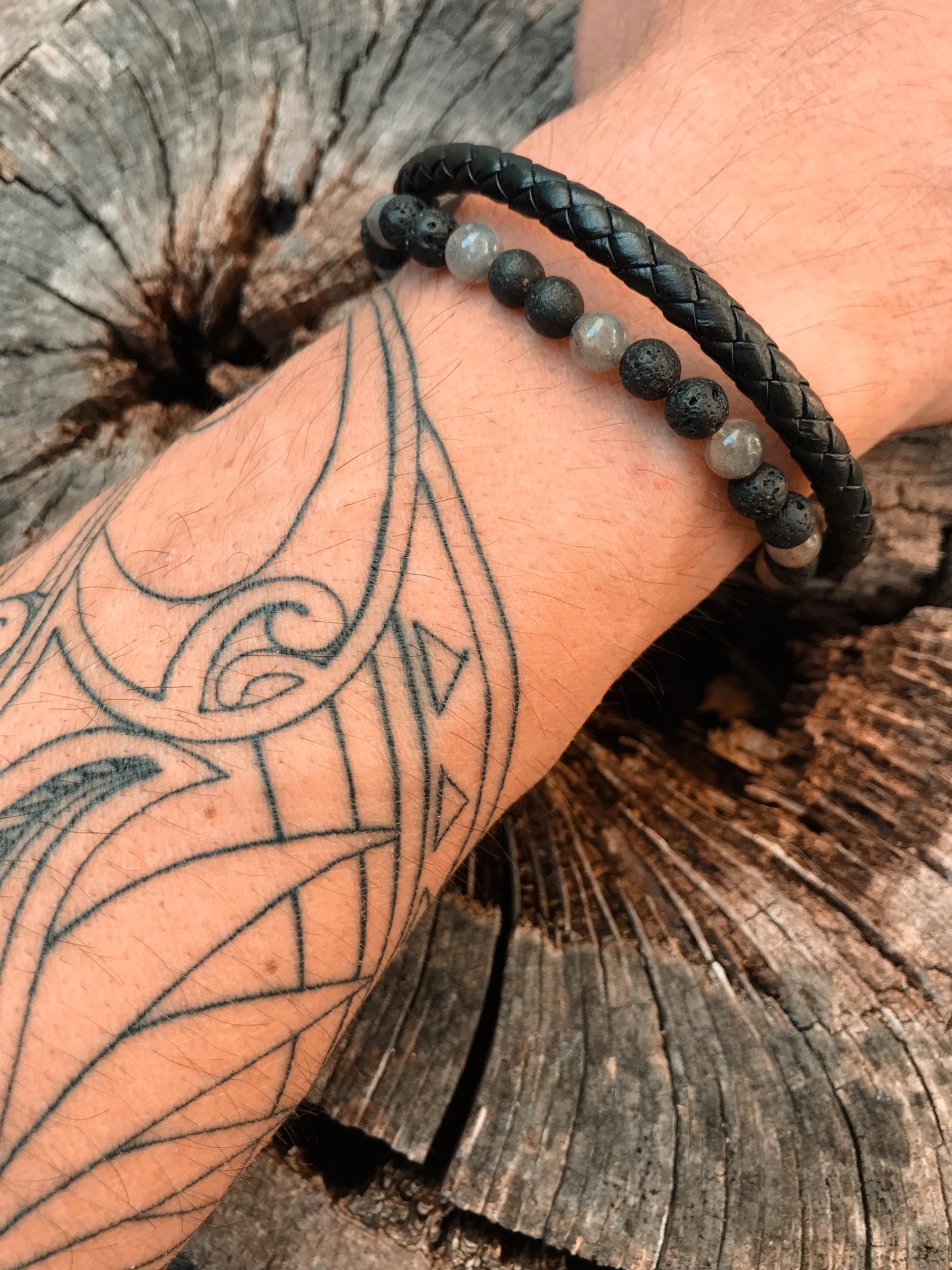 Bracelet mixte cuir LABRADORITE & PIERRE DE LAVE Protection des energies exterieures