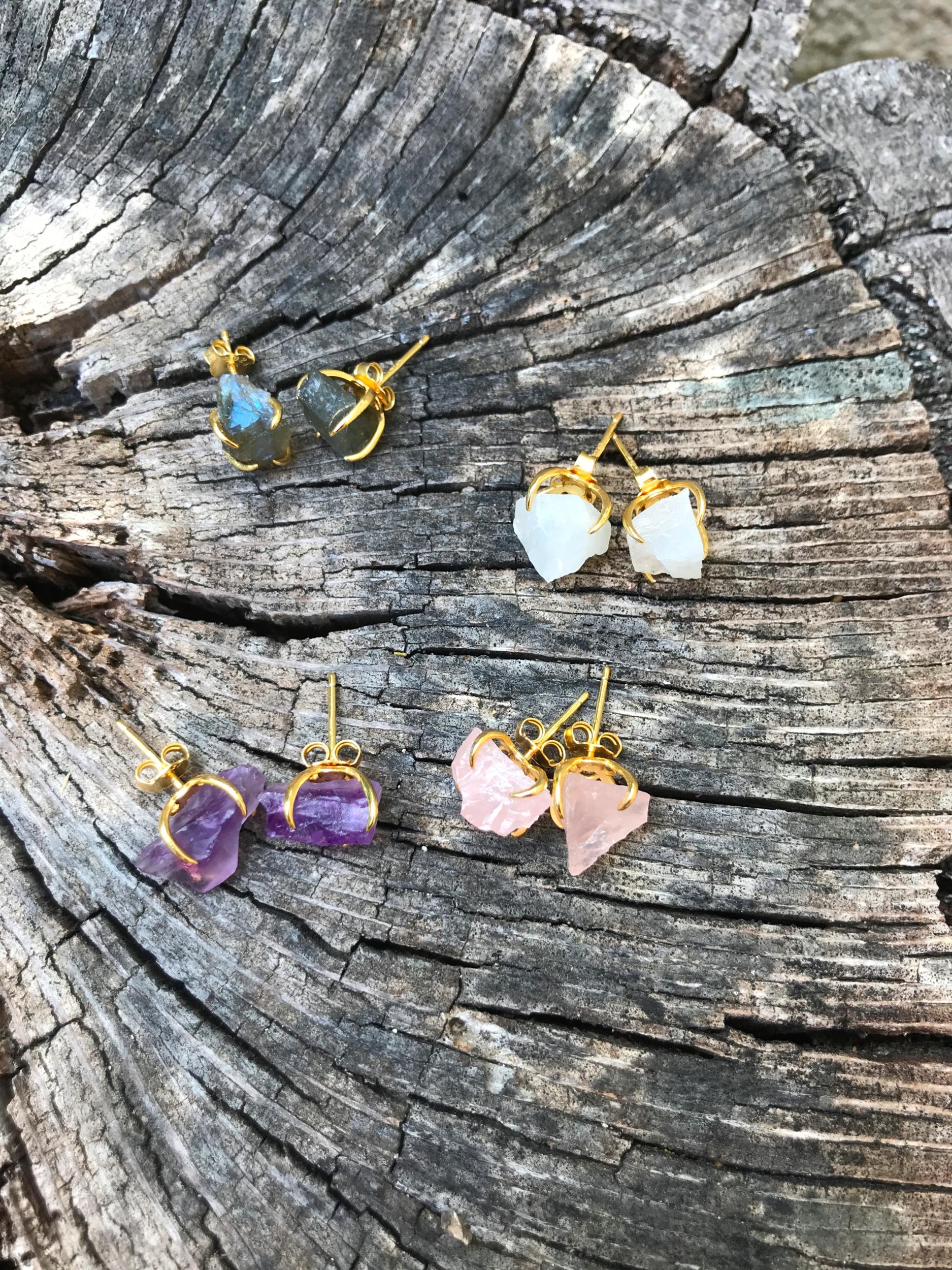 Boucles Aurore pierre semi precieuse au choix: Quartz rose, labradorite, pierre de lune, amethyste