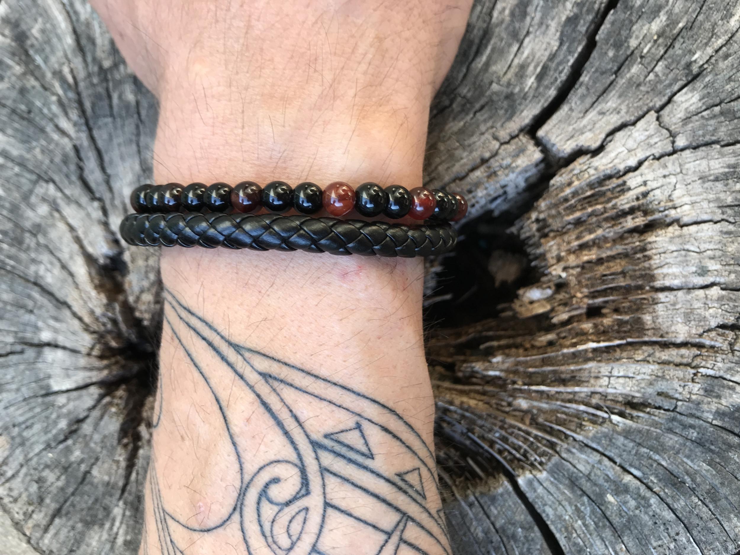 Bracelet mixte cuir obsidienne et agathe rouge soin Deblocage du noeud bloquant du moment