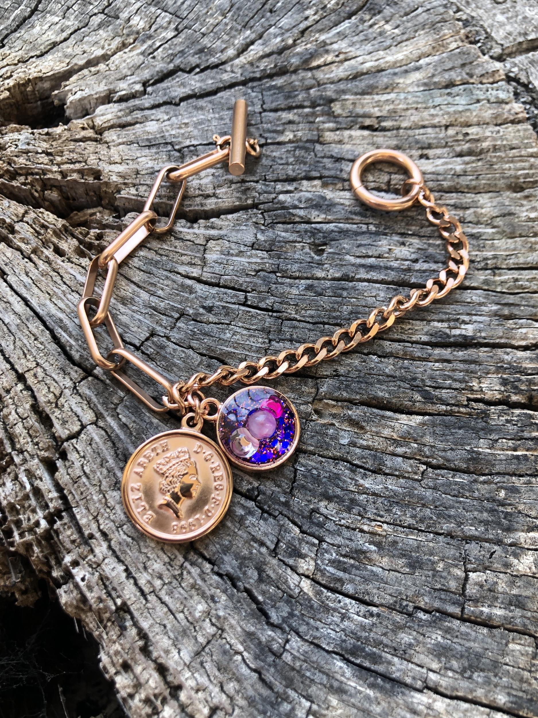 Bracelet gourmette or rose Alignement à soi ( poignet 14-16cm)