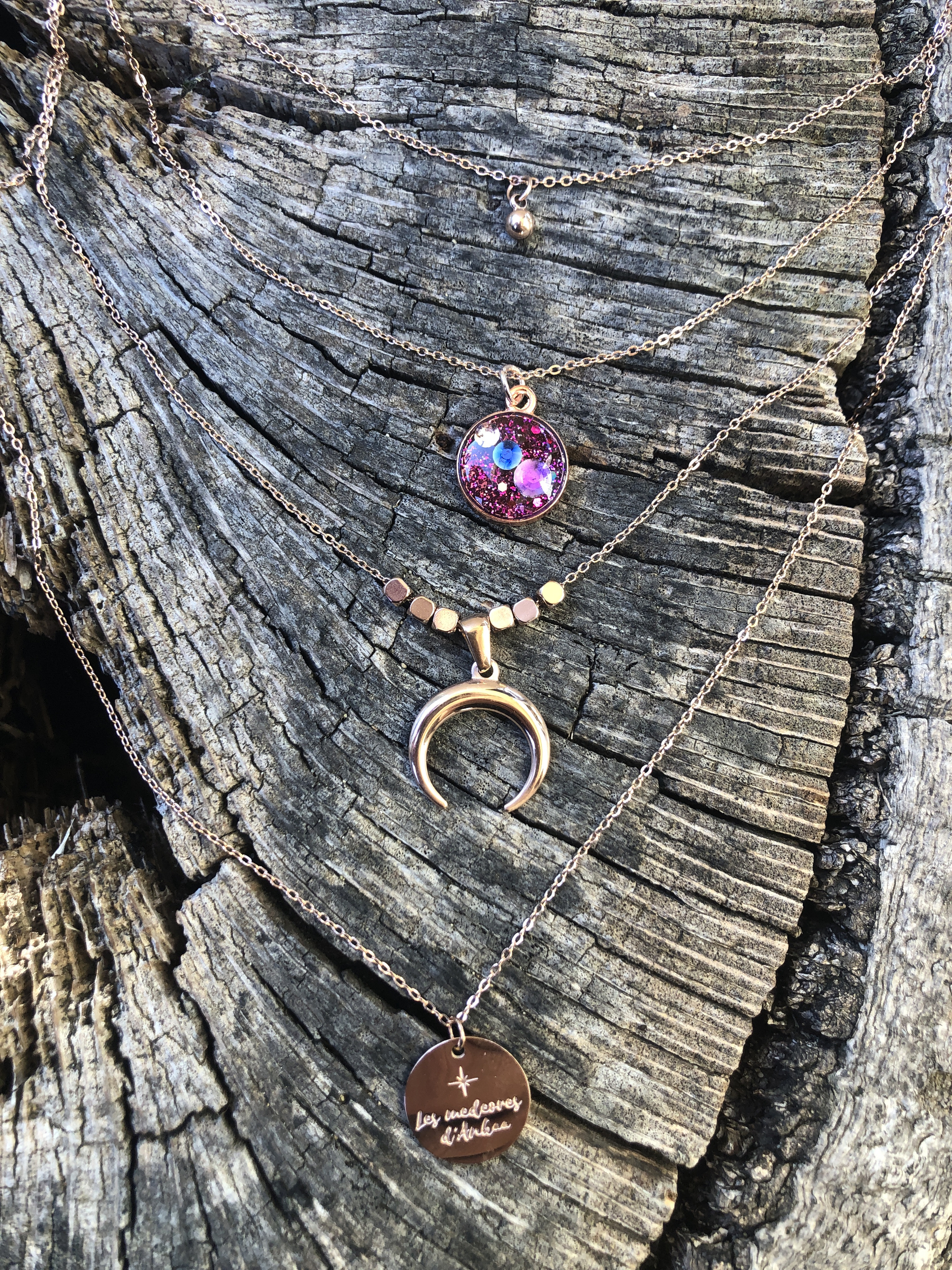Collier 4 rangs Or rose Liberation des blocages anterieures