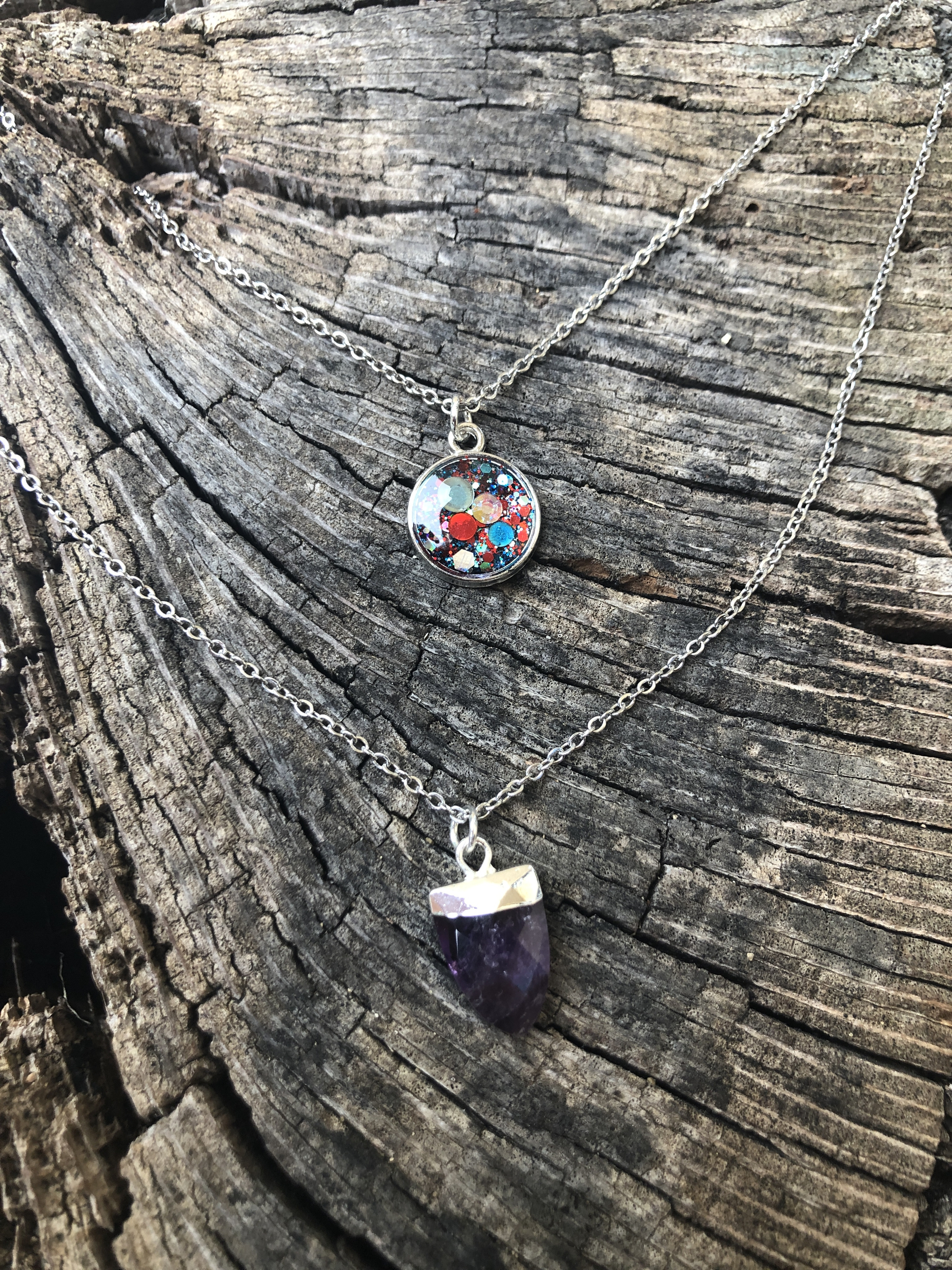 Collier double AMETHYSTE soin Cut and leave