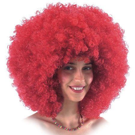 Perruque Bouclée Disco Rouge