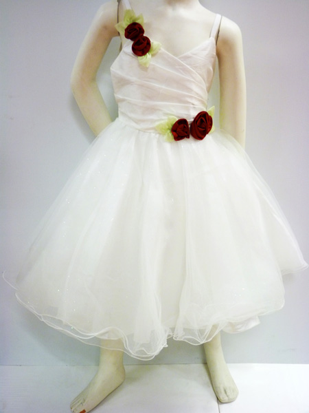 Robe de cérémonie enfant fleurs rouge
