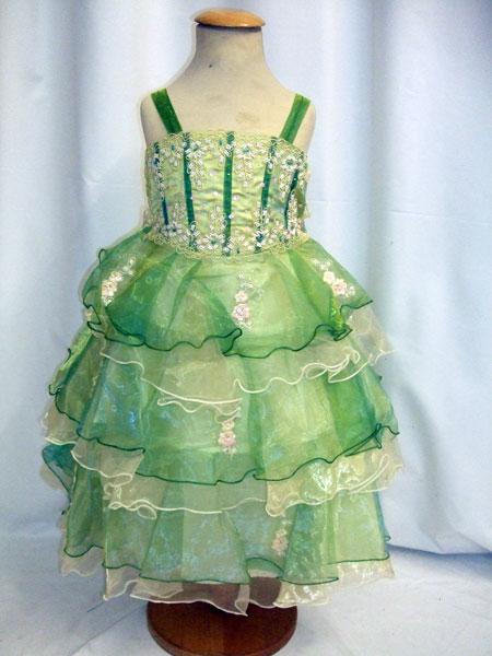 Robe bustier de cérémonie enfant vert anis