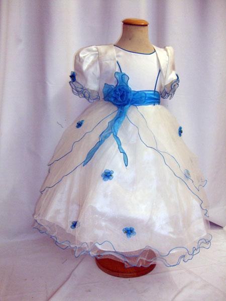 Robe de cérémonie enfant avec boléro bleu turquoise