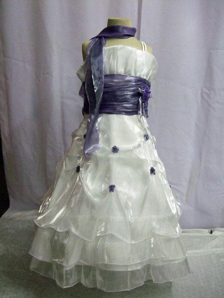 Robe de cérémonie enfant ivoire et lilas