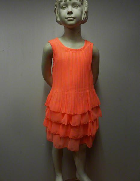 Robe enfant fluo corail  avec chouchou