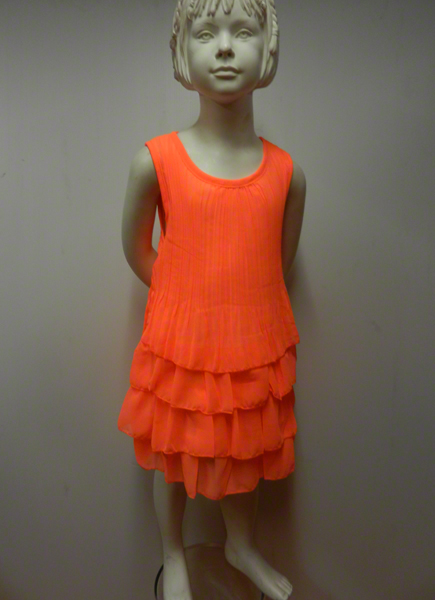 Robe enfant fluo orange  avec chouchou