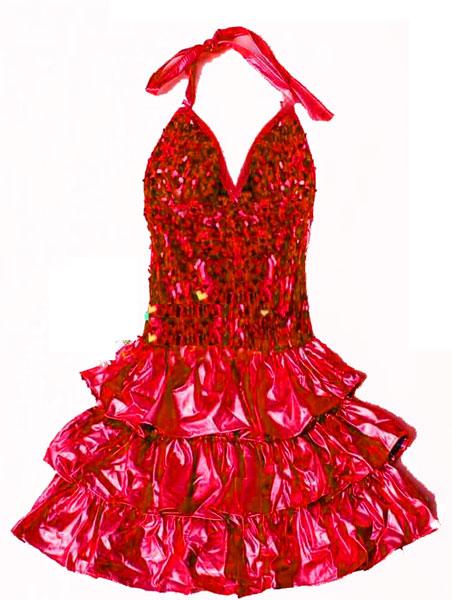 Déguisement robe disco fille rouge