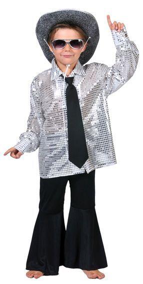 Chemise Disco Enfant à Paillettes Argent