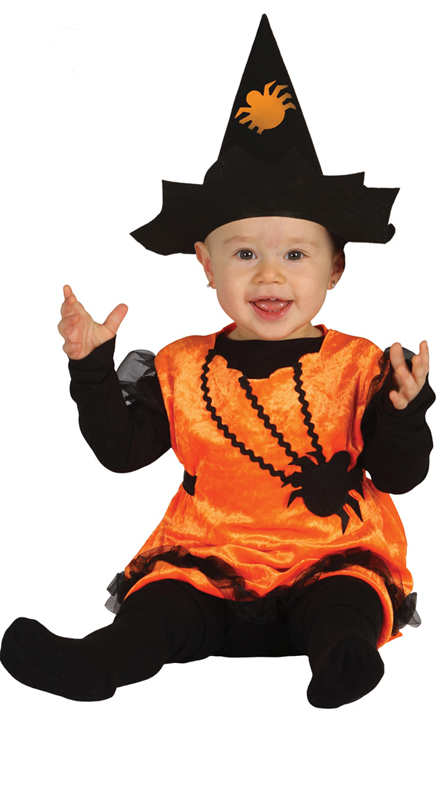 Déguisement bébé petite sorcière orange