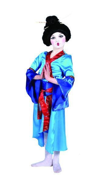 Déguisement de Geisha Bleue Enfant avec ombrelle