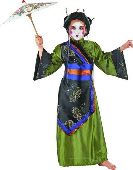 Déguisement de Geisha Verte Enfant Avec Ombrelle