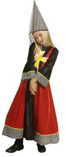 Déguisement Reine Médiévale Enfant Rouge Et Noire
