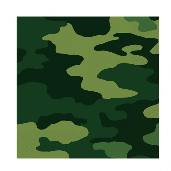 16 serviettes jetables thème camouflage