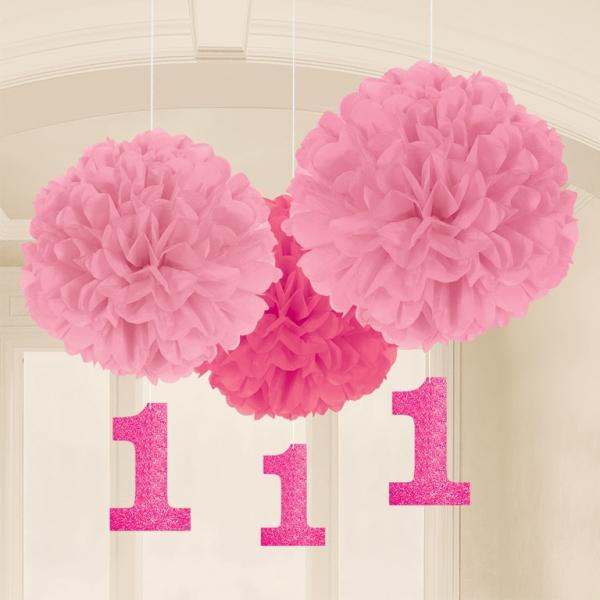 3 pompons fleurs papier rose 1 an