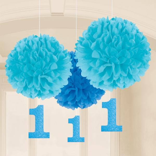 3 pompons fleurs papier bleu 1 an