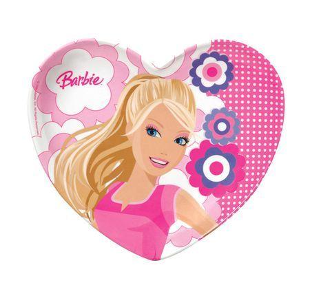8 Assiettes forme Coeurs Barbie 23 cm