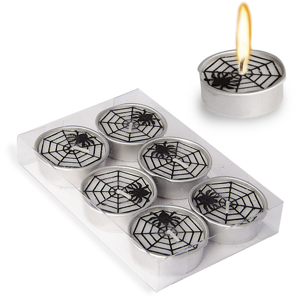 6 mini bougies toile d\'araignée