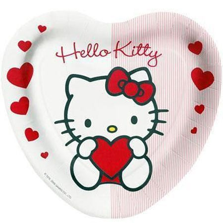 8 Assiettes Hello Kitty Forme Coeur 23 Cm