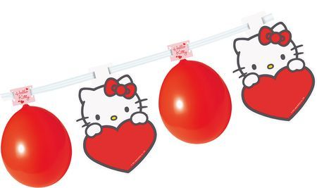 Kit 8 Ballons + Bannière 5 Personnages - Hello Kitty©