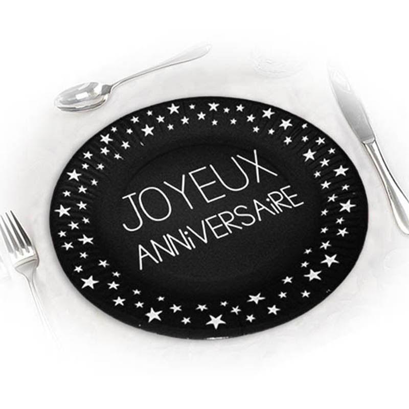 Assiettes joyeux anniversaires noires 23 cm