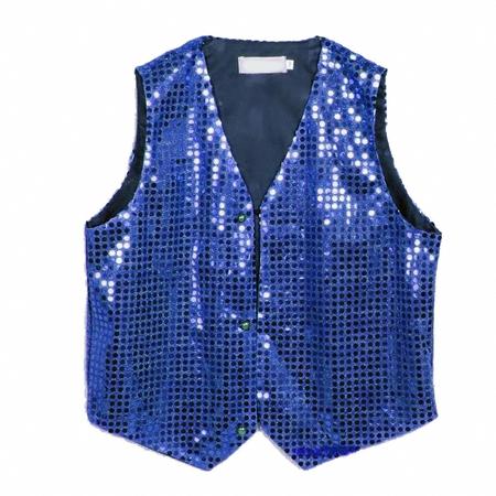 Gilet disco mixte enfant à paillettes bleu royal