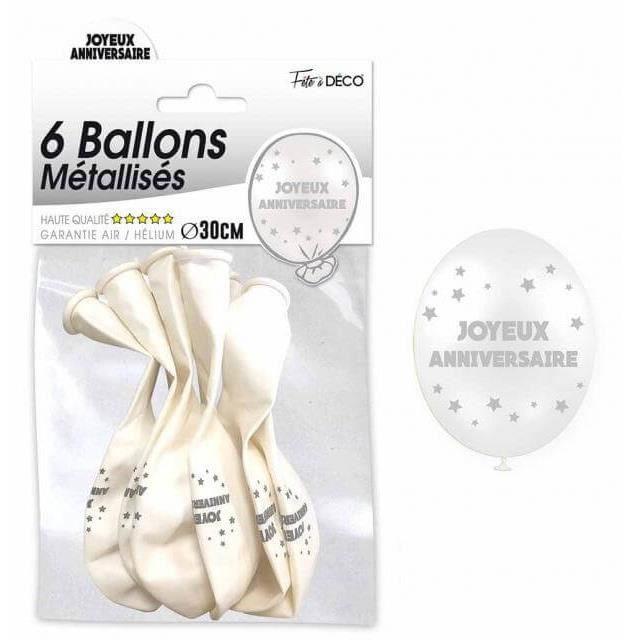 6 Ballons joyeux anniversaires blancs