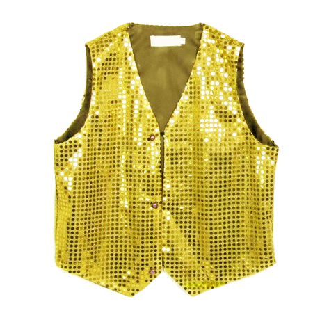 Gilet disco mixte enfant à paillettes or