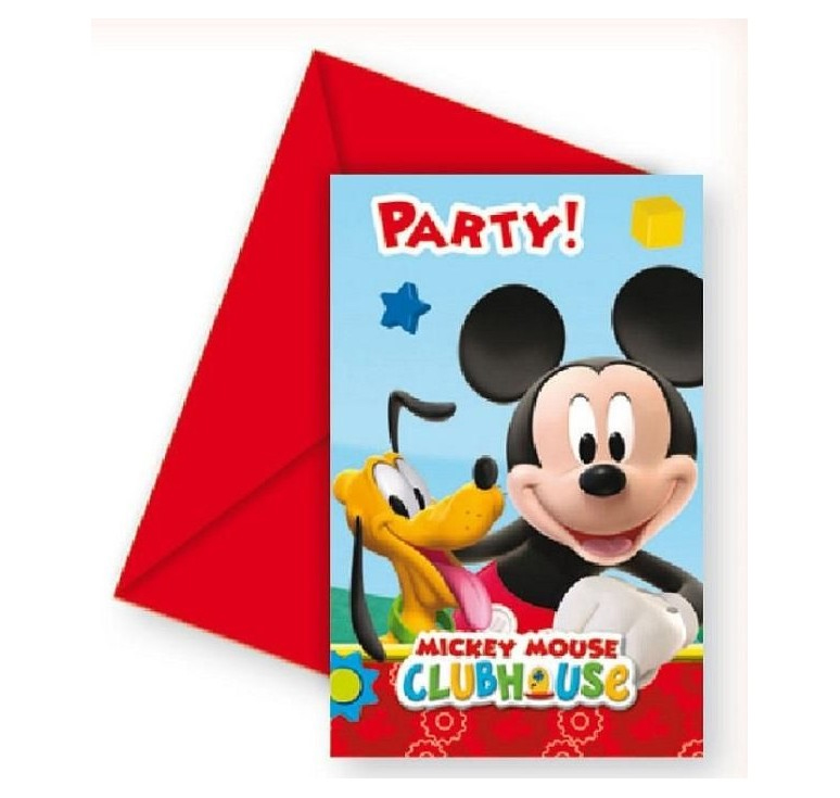 6 Cartes invitations Mickey