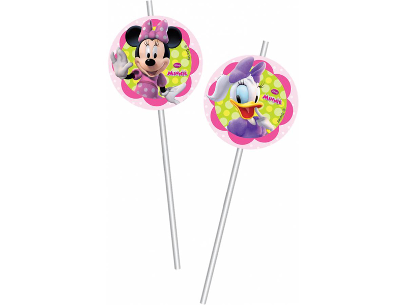 6 pailles médaillons Minnie Happy