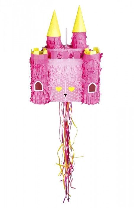 Pinata château de princesse rose