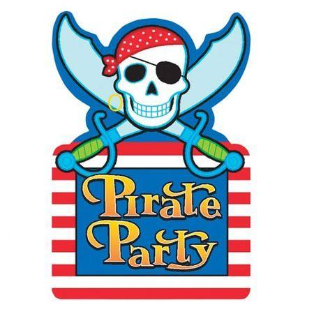 8 Invitations Thème Pirate