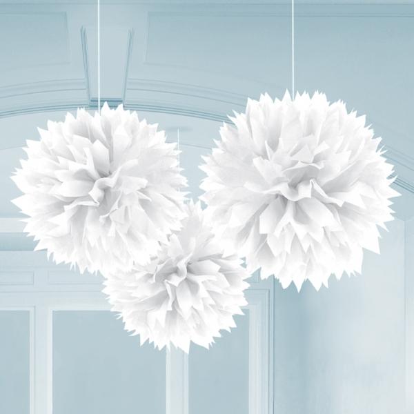 3 pompons fleurs papier blancs