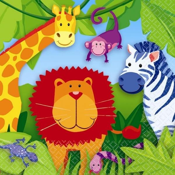 Serviettes jetables thème jungle