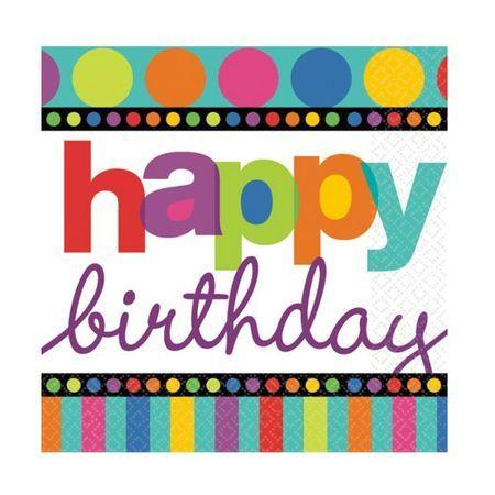 16 Serviettes Happy Birthday