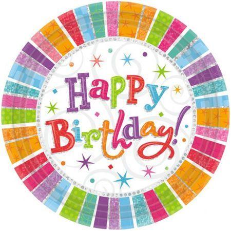 Assiettes Métallisées Happy Birthday 23Cm