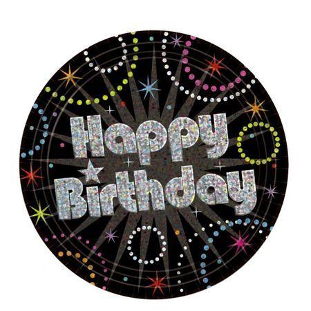 8 Assiettes 23 Cm Happy Birthday