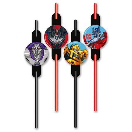 8 Pailles Thème Transformers