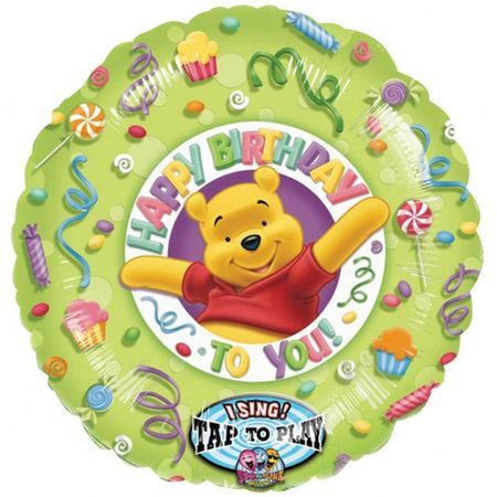 Ballon Mylar Winnie Happy Birthday Musical