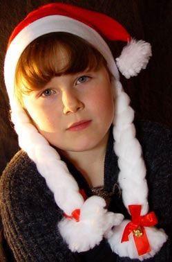 Bonnet de Noël Avec Tresses En Fourrure
