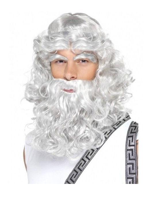 Perruque et barbe de roi grise