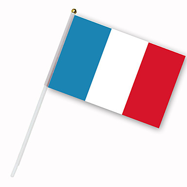 Drapeau de la France monté sur tige