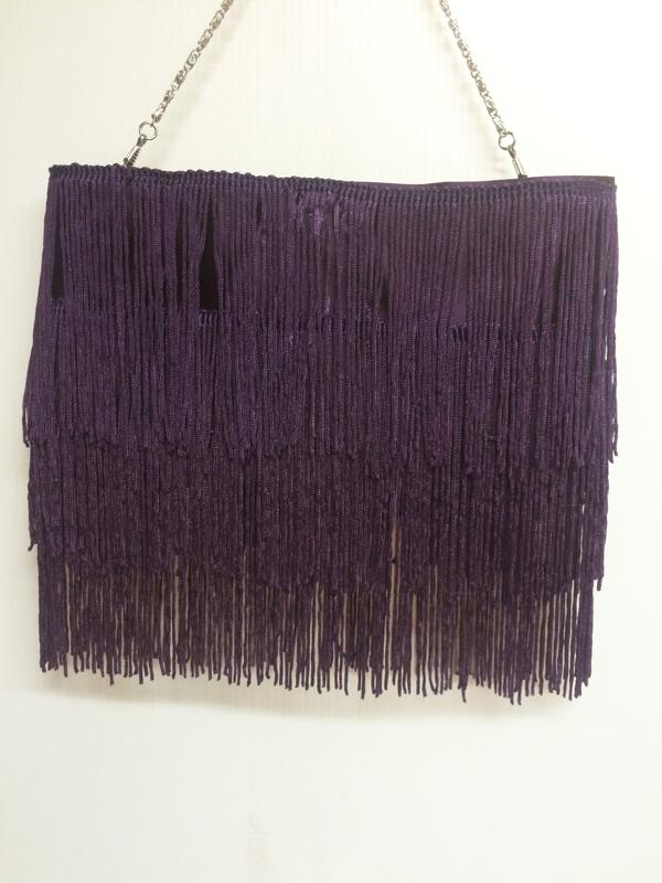 Sac à main années 20 à franges violet