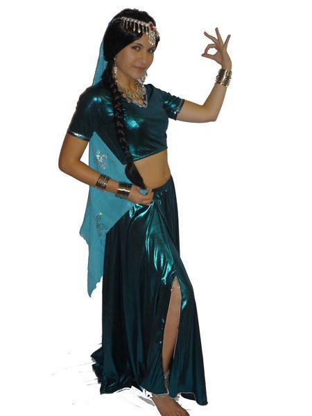 Costume Bollywood luxe Bleu Métallisé Avec Voile