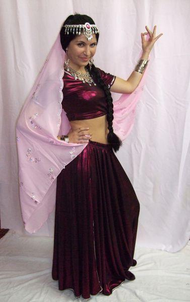 Costume Bollywood luxe Prune Métallisé Avec Voile