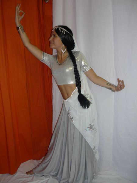 Costume Bollywood luxe Argent Avec Voile